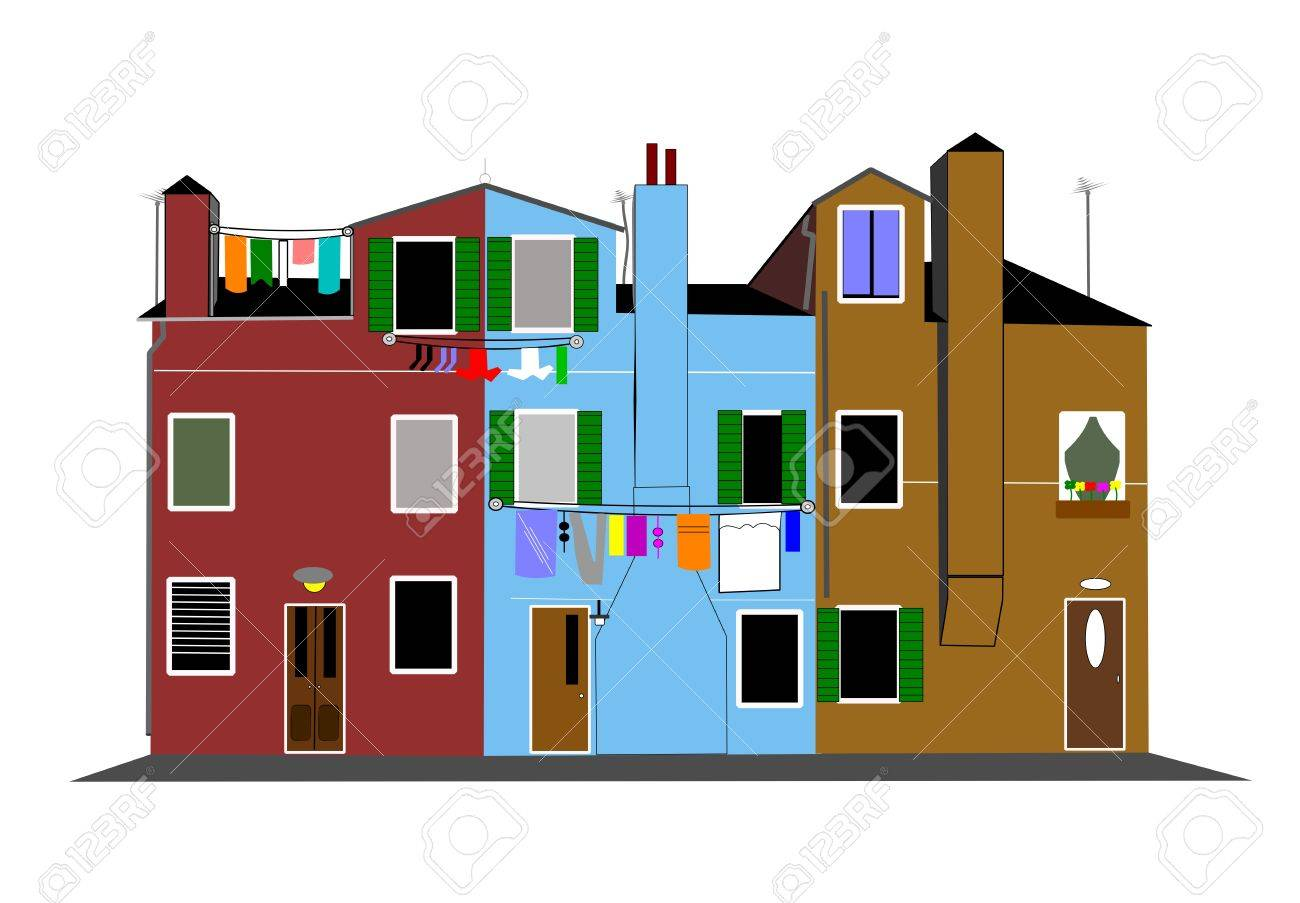 laundry day in the city Stock Vector - 23473819
