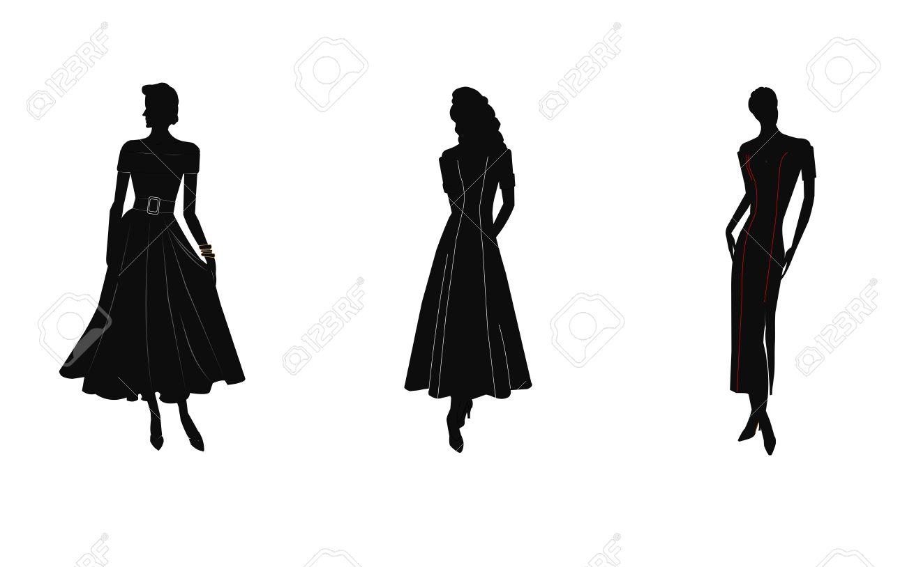 Женщины в платье силуэт 194