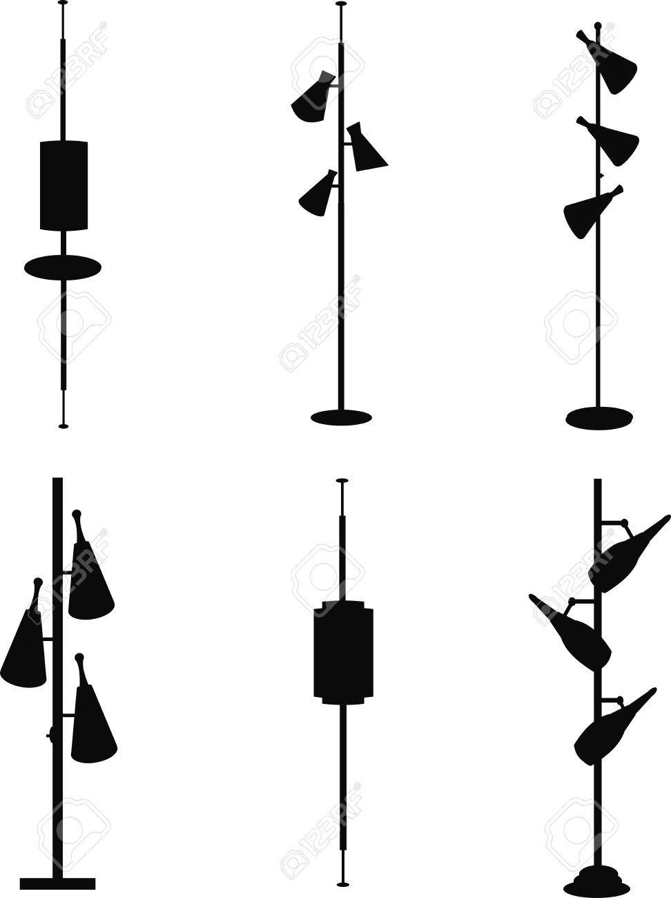 Vintage household pole lamps from sixties in silhouette royalty vintage household pole lamps from sixties in silhouette stock vector 24546758 mozeypictures Images