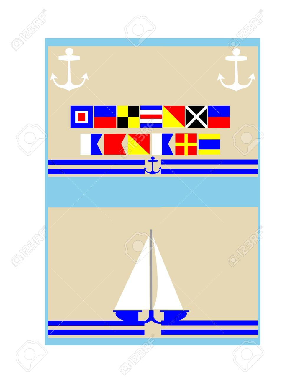 Welcome Aboard Nautical Background Concept Royalty Free Cliparts