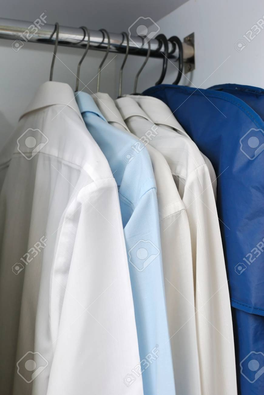 stock photo wardrobe of business long sleeved shirts for business concepts and office and work life business concepts business life office