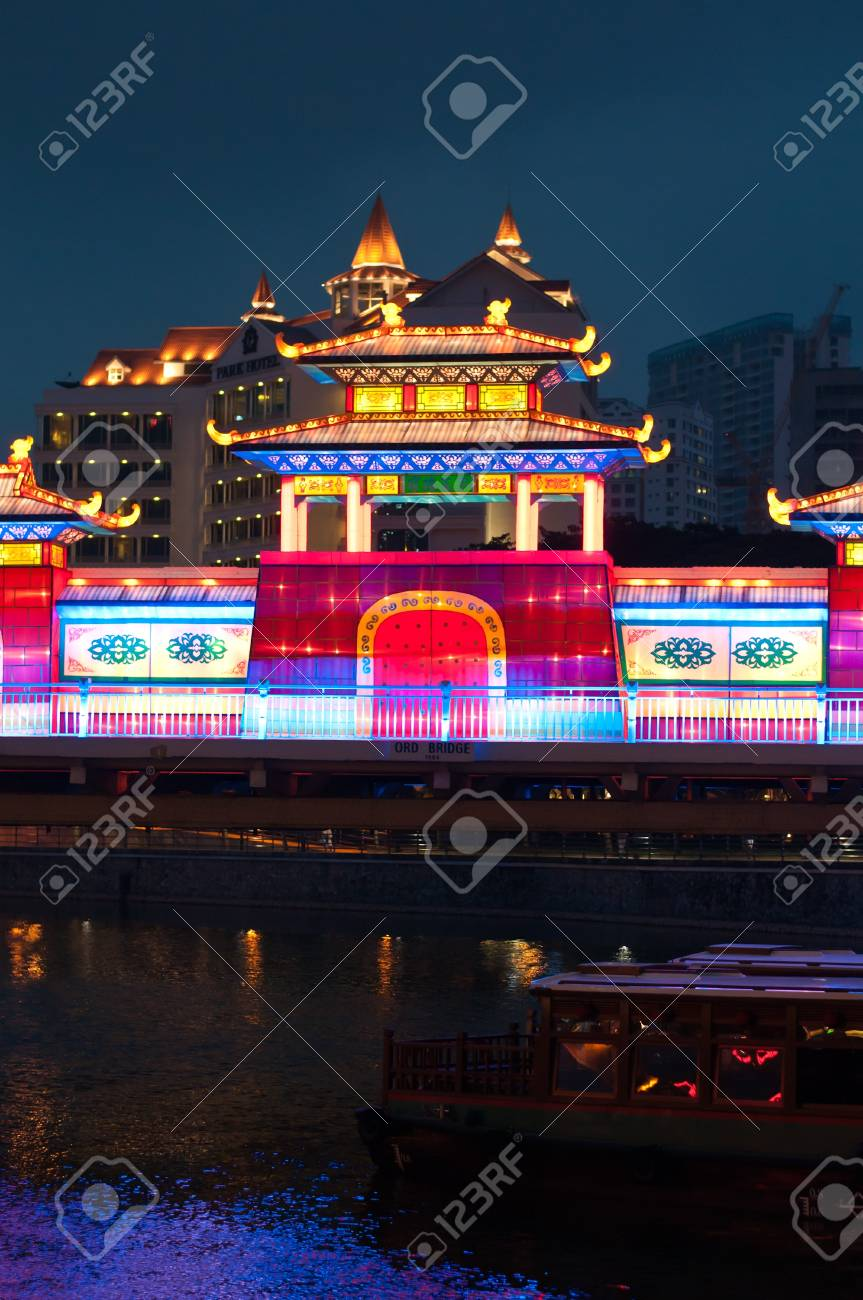 Night view of colorful lightup of lantern building on Mooncake Festival. Stock Photo - 10678226