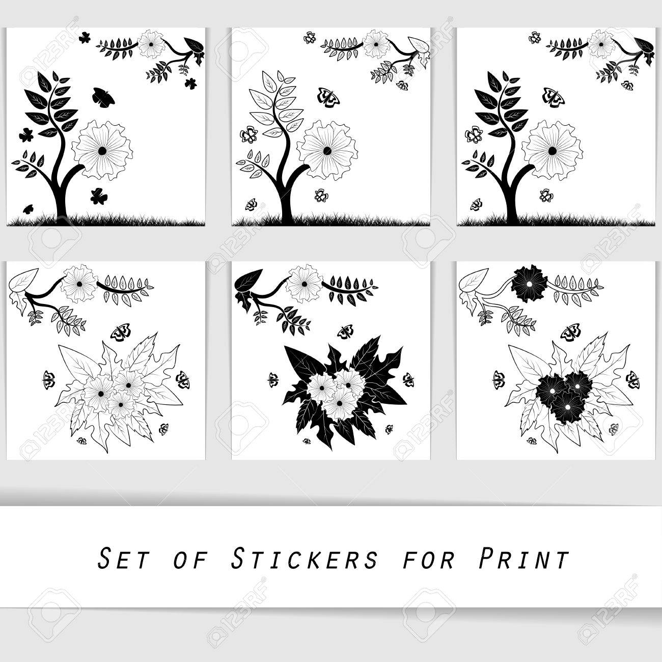 flower silhouette decorative elements for printing wall stickers vector flower silhouette decorative elements for printing wall stickers paper stickers or can be used in printshop