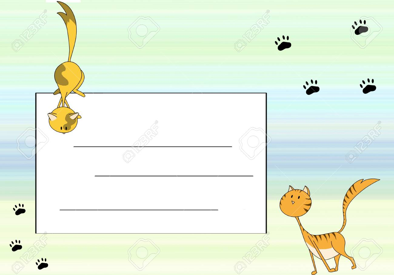 cat card with space for text Stock Photo - 13620652