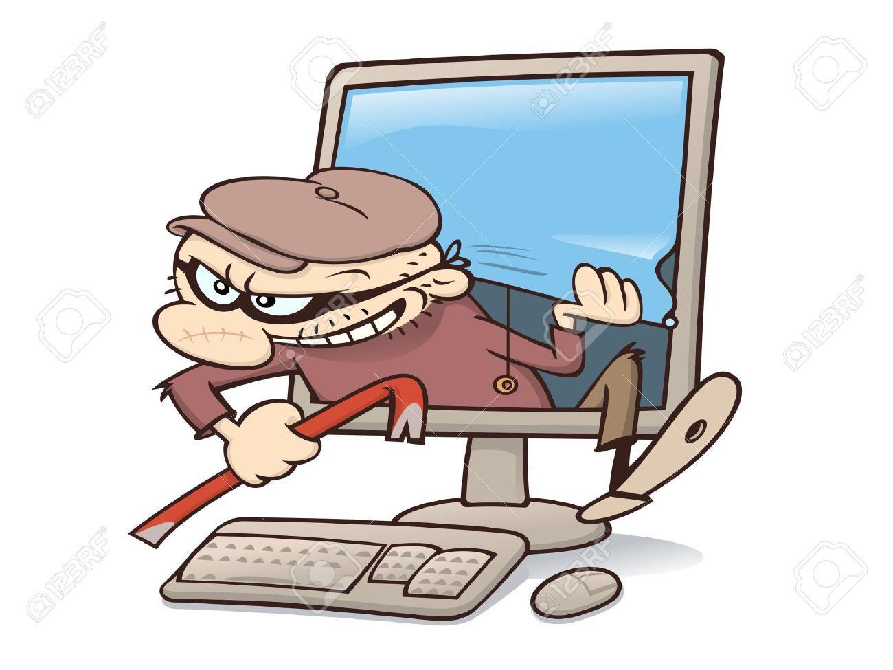 Modern criminal break in through a computer Stock Vector - 9926127