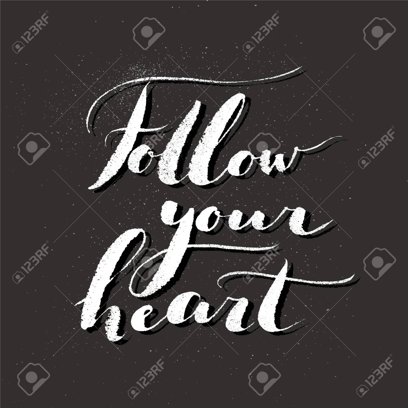 Handdrawn Lettering Of A Phrase Follow Your Heart Unique Typography Royalty Free Cliparts Vectors And Stock Illustration Image 108748147