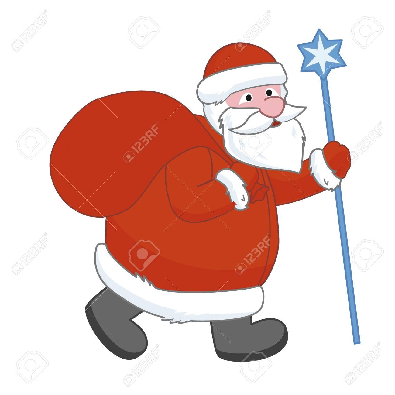Vector Illustration Of Funny Cartoon Santa Claus Rides With Big