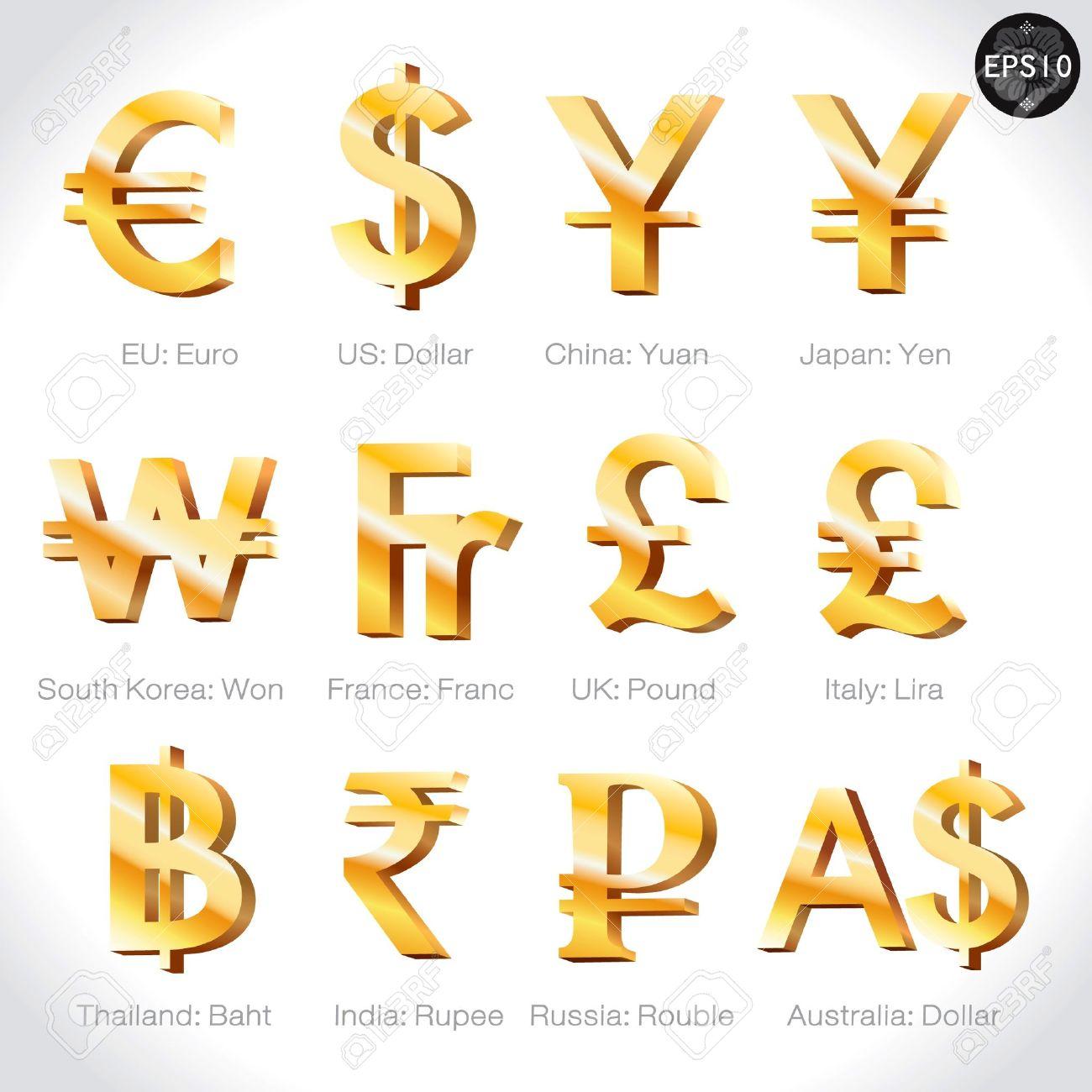Currency Signs Dollar Euro Yen Yuan Wonfrancpoundlir