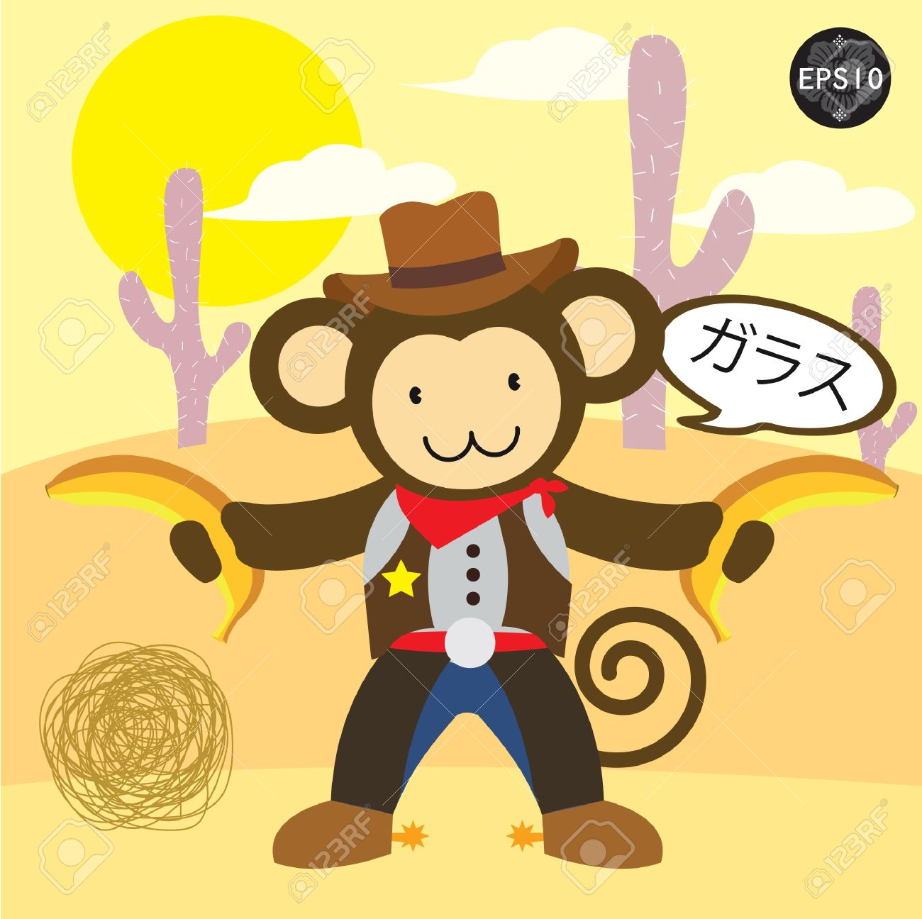 A monkey sheriff drawing bananas pistol and say delicious in japan, Vector Stock Vector - 17399768