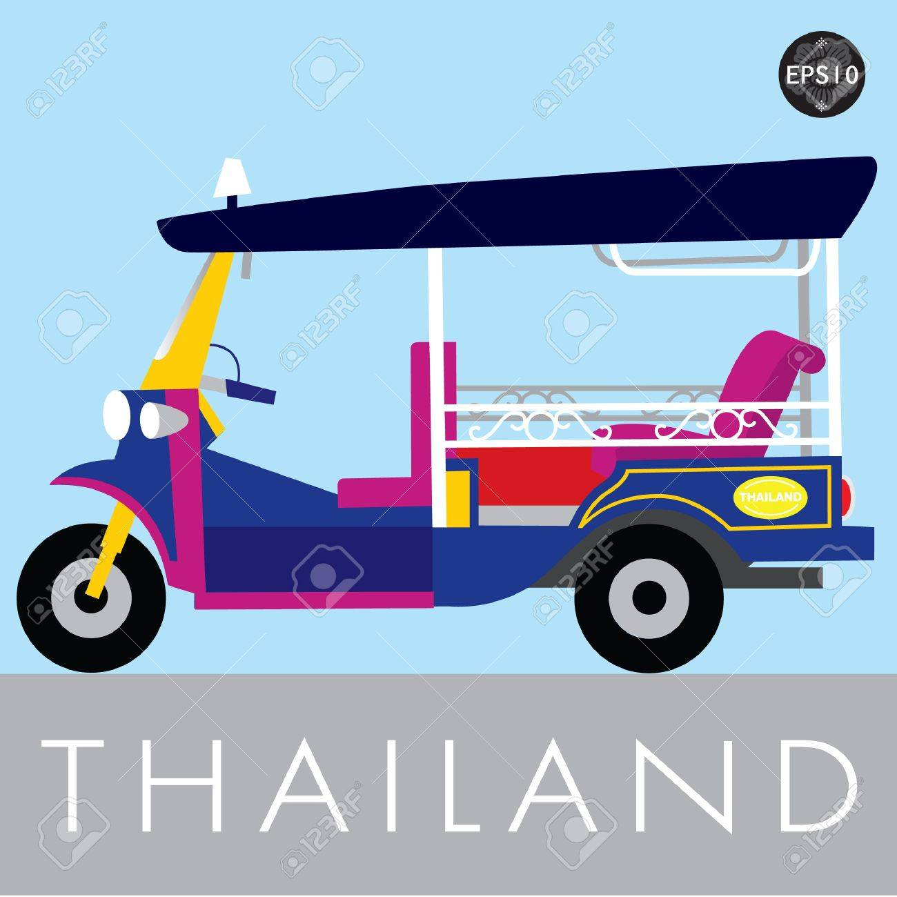 Thai traditional Tuk Tuk in Bangkok of Thailand, Vector Stock Vector - 17399759