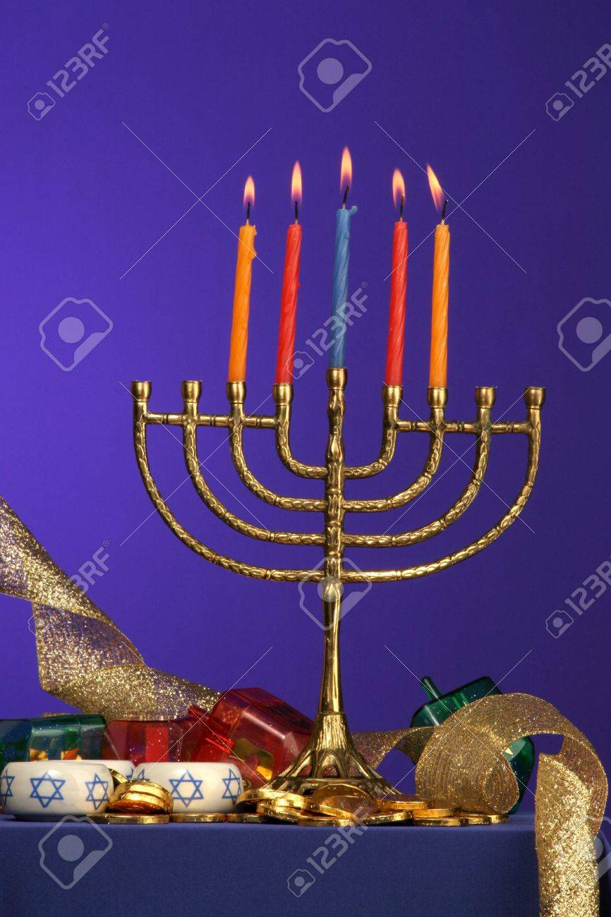 traditional Hanukkah menorah five candles lite Stock Photo - 275680