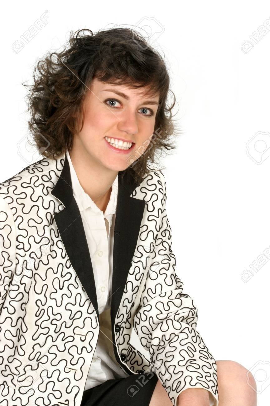 b26fbc3eccca Archivio Fotografico - Sorrisi della donna voi in vestito nero e bianco  isolato su priorità bassa bianca