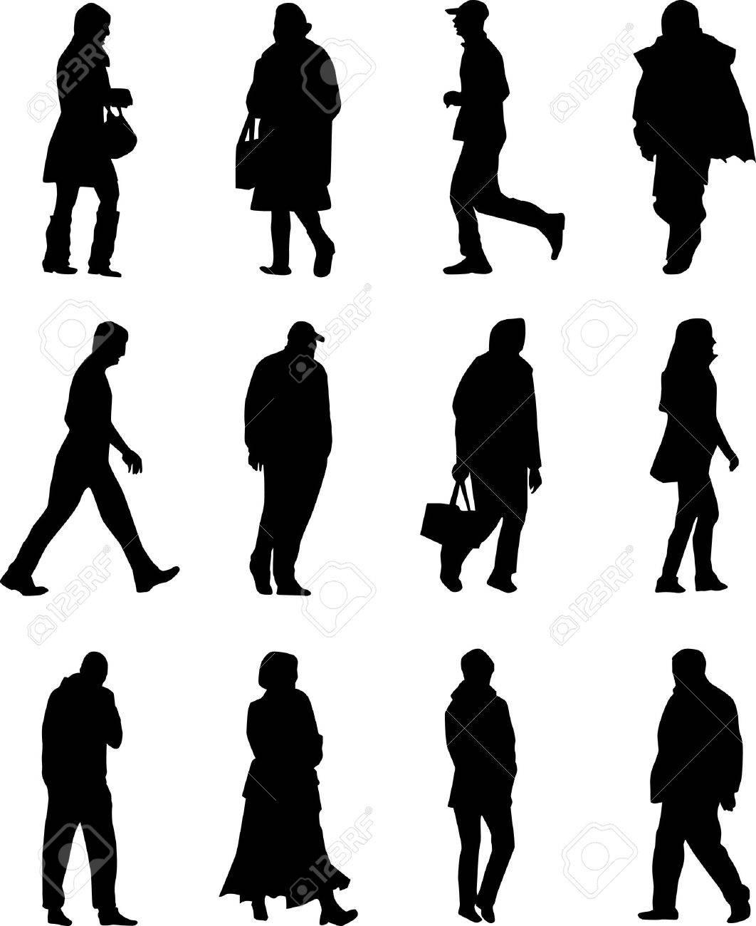 People Walking Silhouette Vector Stock