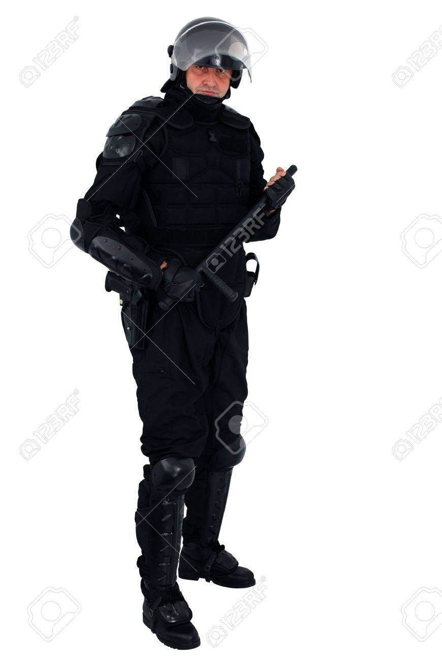 riot policeman isolated Stock Photo - 5846490
