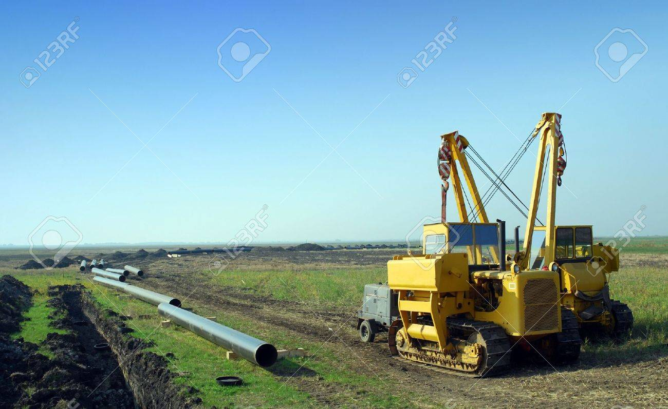 construction site with gas pipeline - 6566123