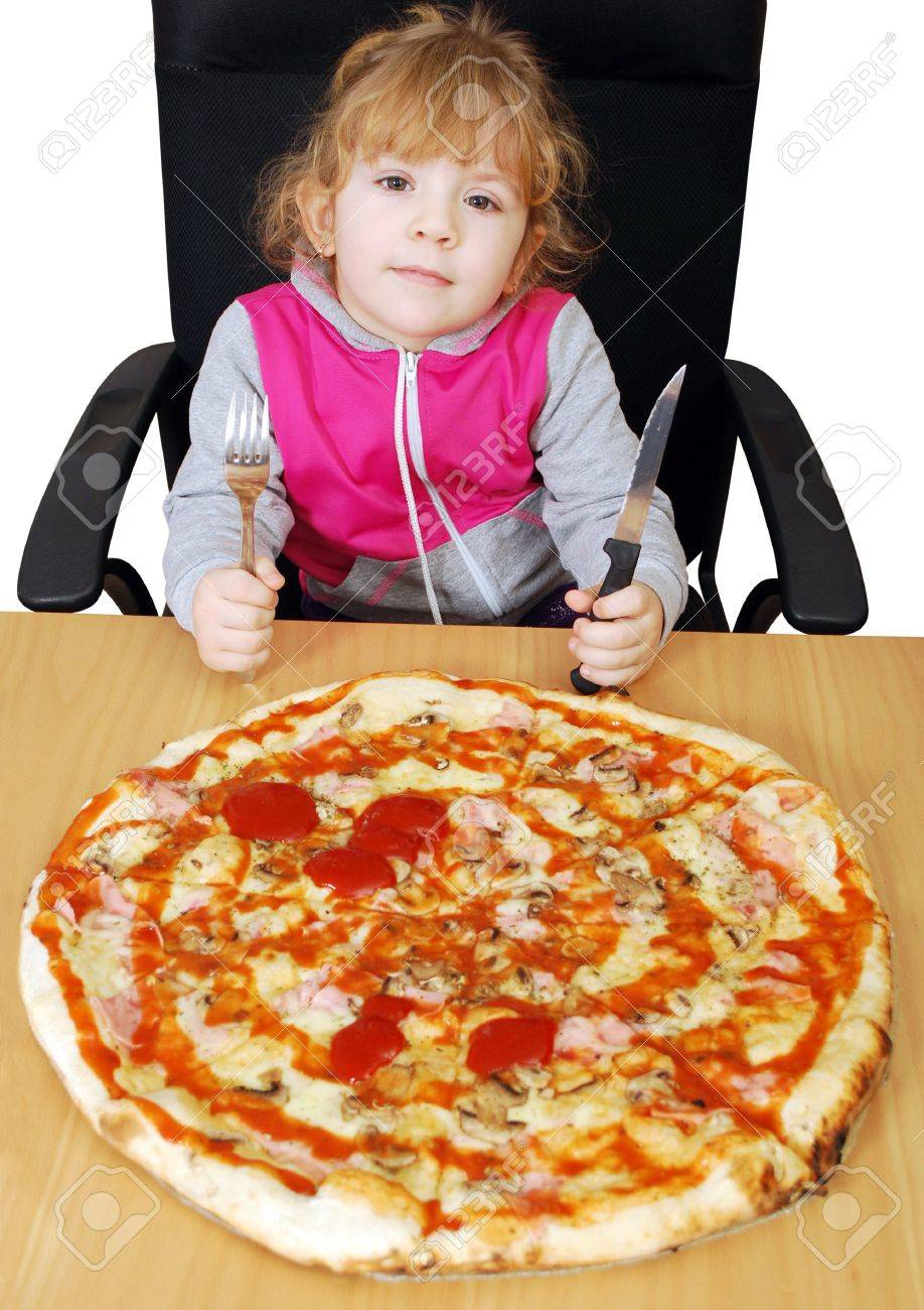 little girl with big pizza Stock Photo - 7334082