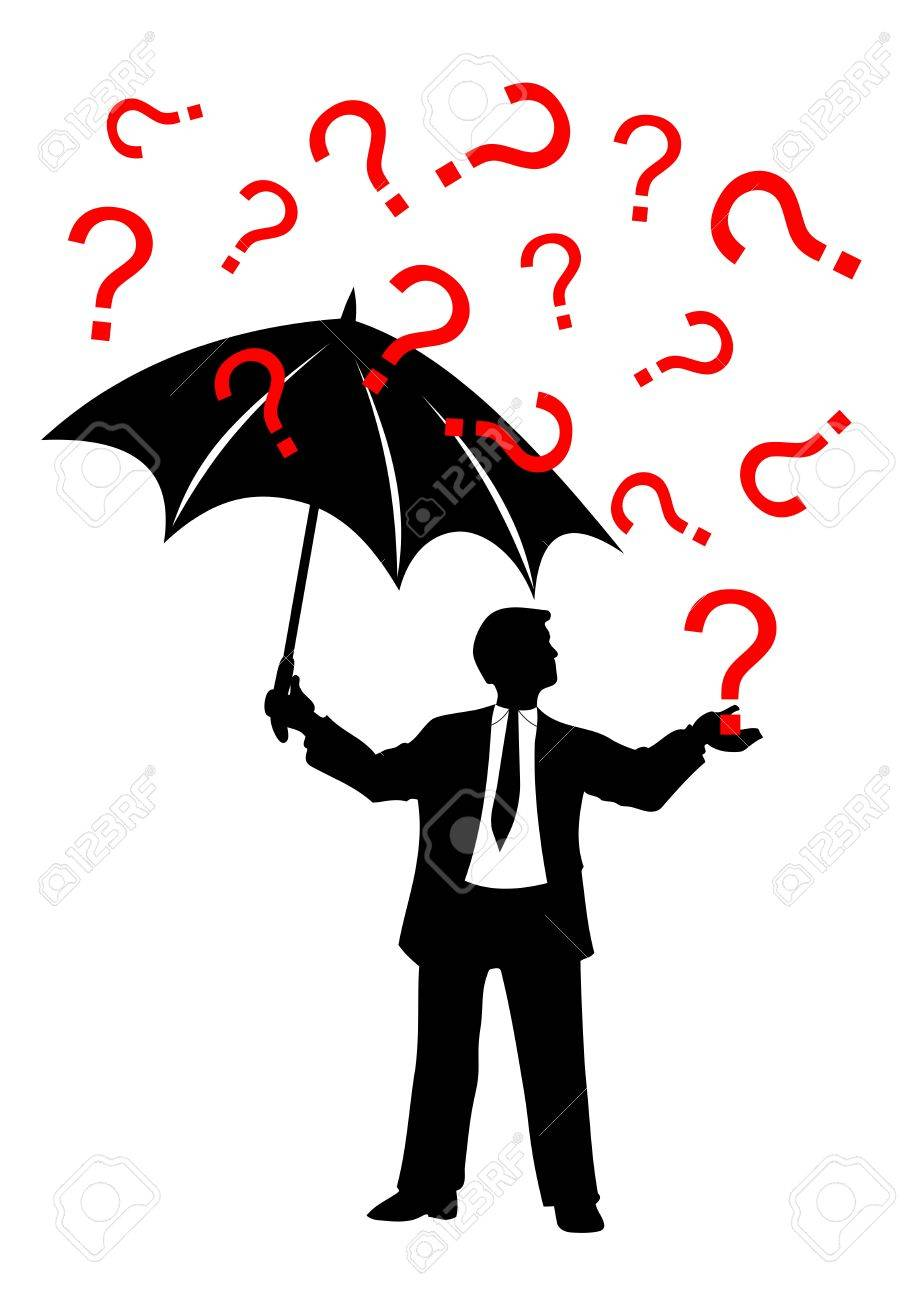 man with umbrella and question mark rain Stock Vector - 7628189