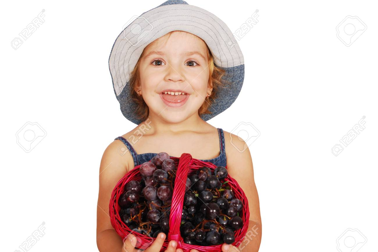little girl with grapes Stock Photo - 7628169