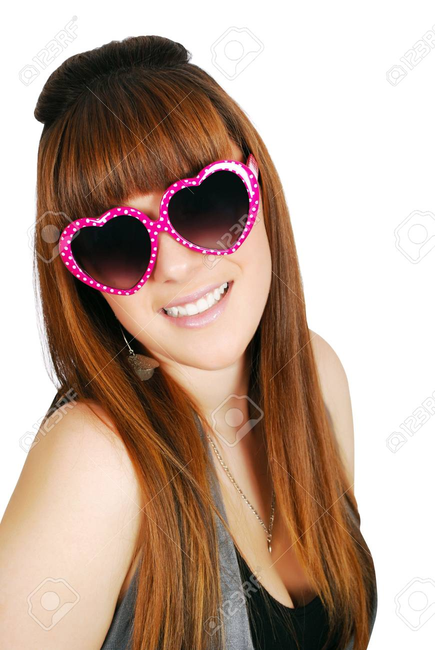happy teenage girl with heart sunglasses Stock Photo - 8228324