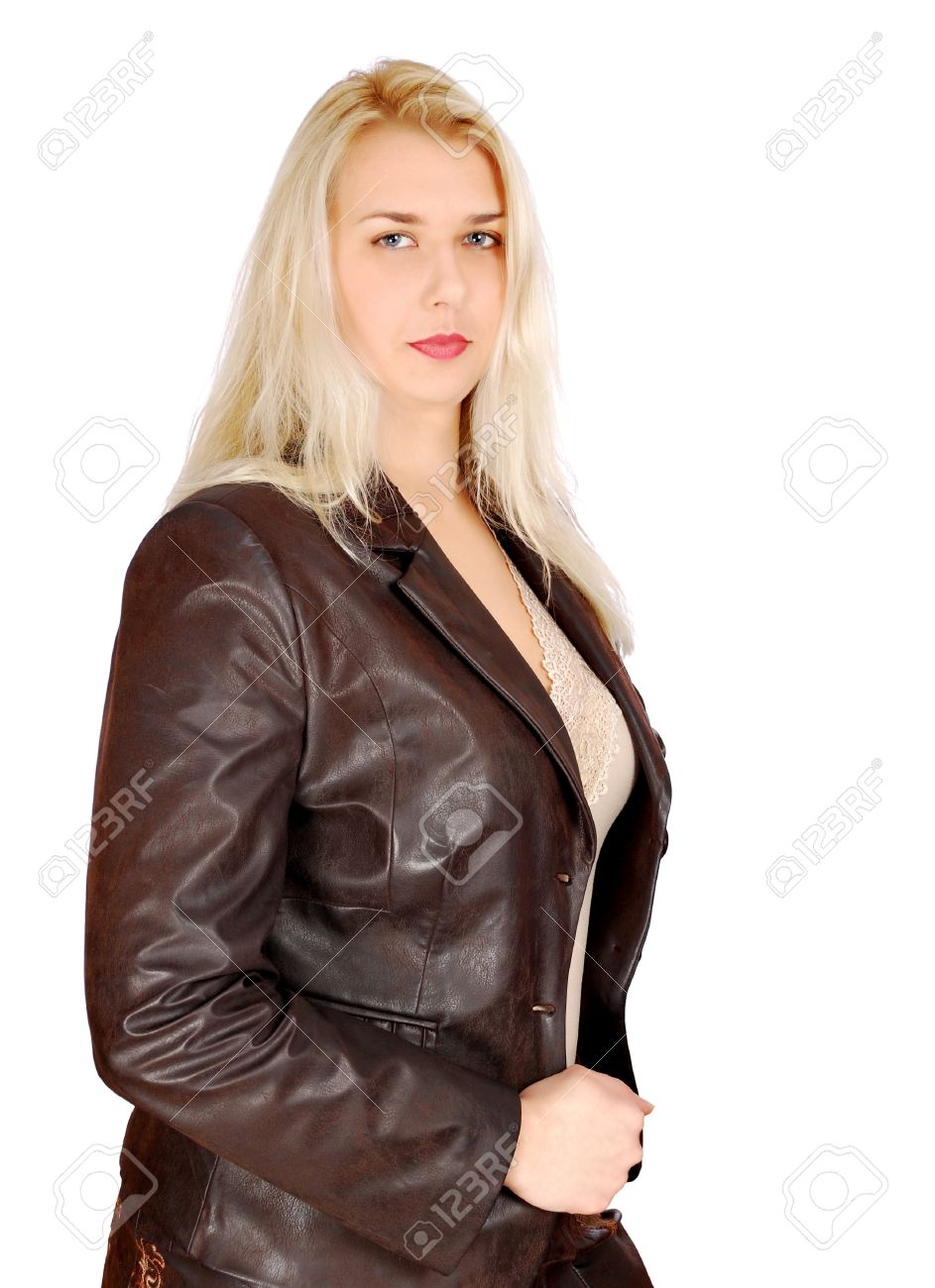 Blonde Woman In Leather Jacket Posing Stock Photo Picture And