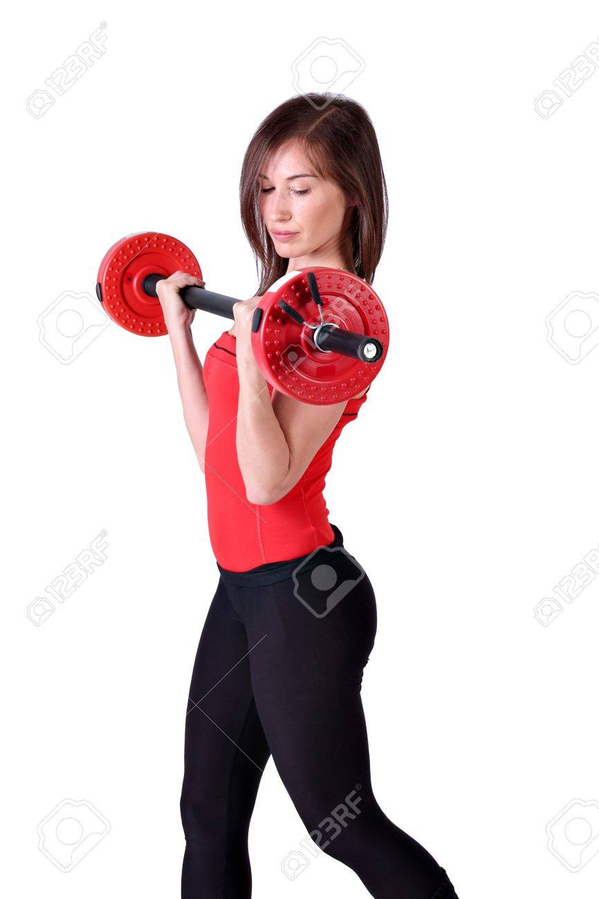 girl exercise with weights Stock Photo - 13362446