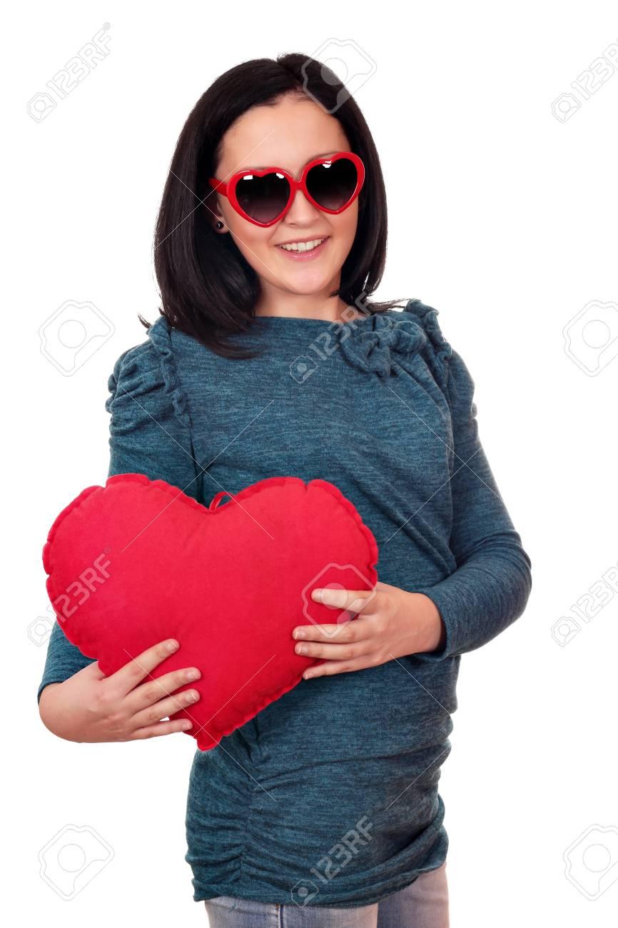 teenage girl with heart and sunglasses Stock Photo - 17287358