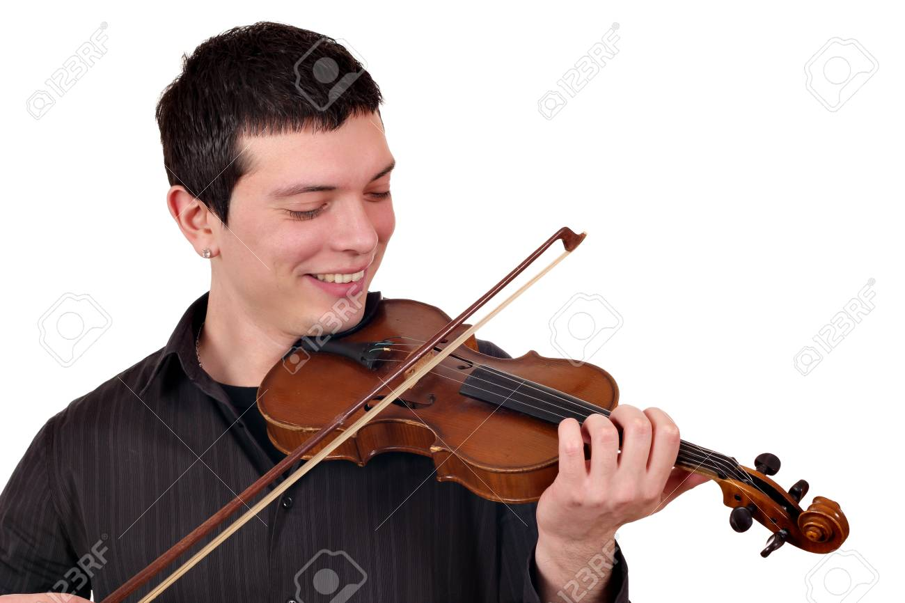 young man play violin on white Stock Photo - 18130786