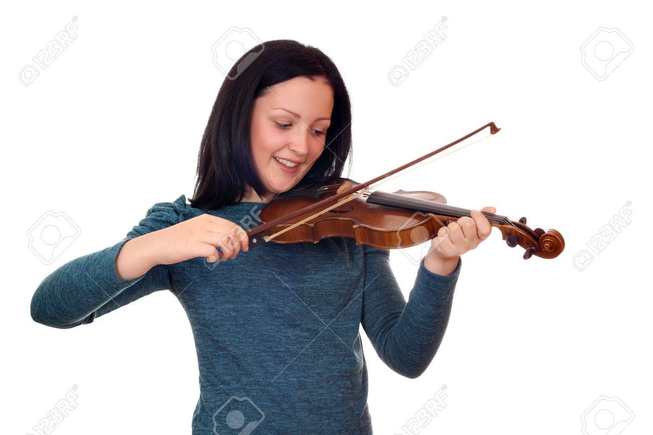teenage girl play violin on white Stock Photo - 19061663