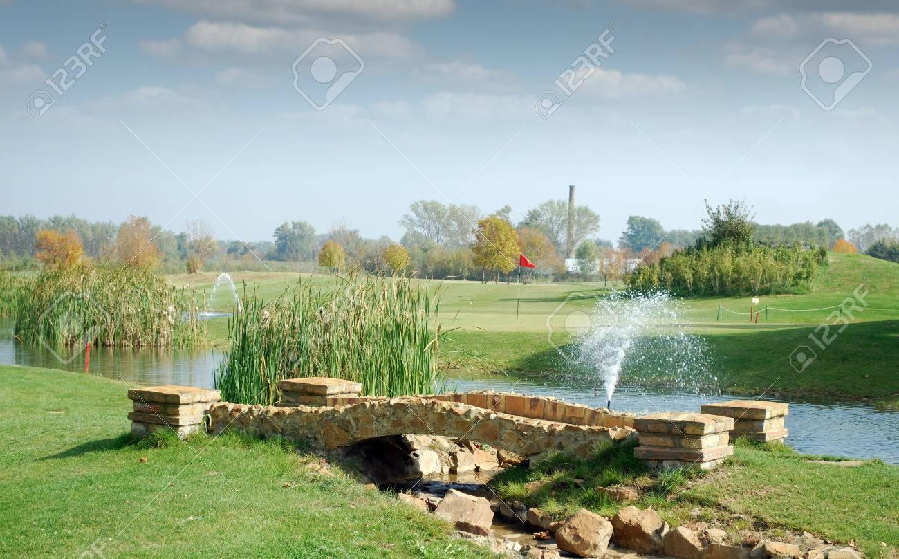 golf course with little stone bridge Stock Photo - 23717486
