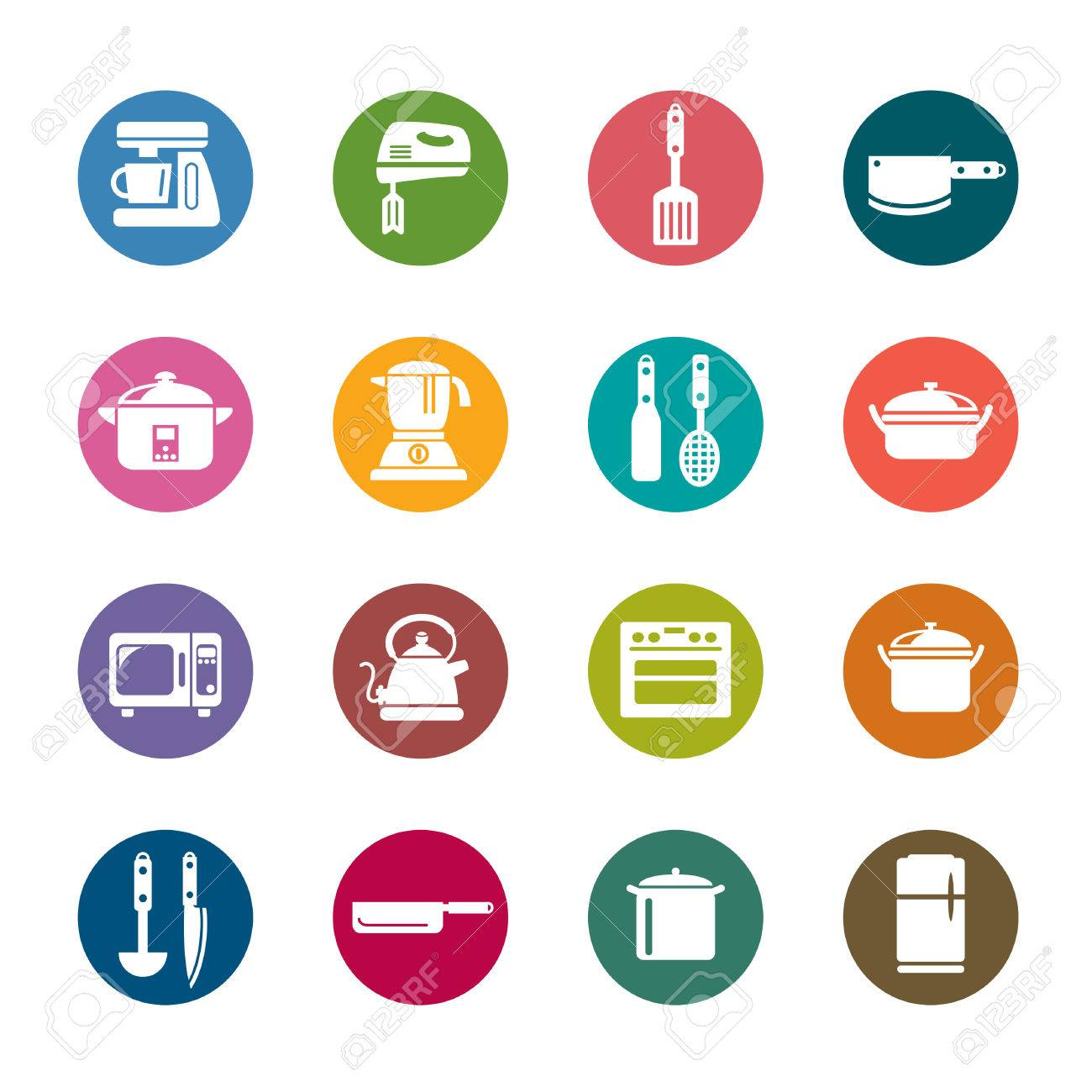 Uncategorized Kitchen Utensils And Appliances kitchen utensils and appliances color icons royalty free cliparts stock vector 30347994