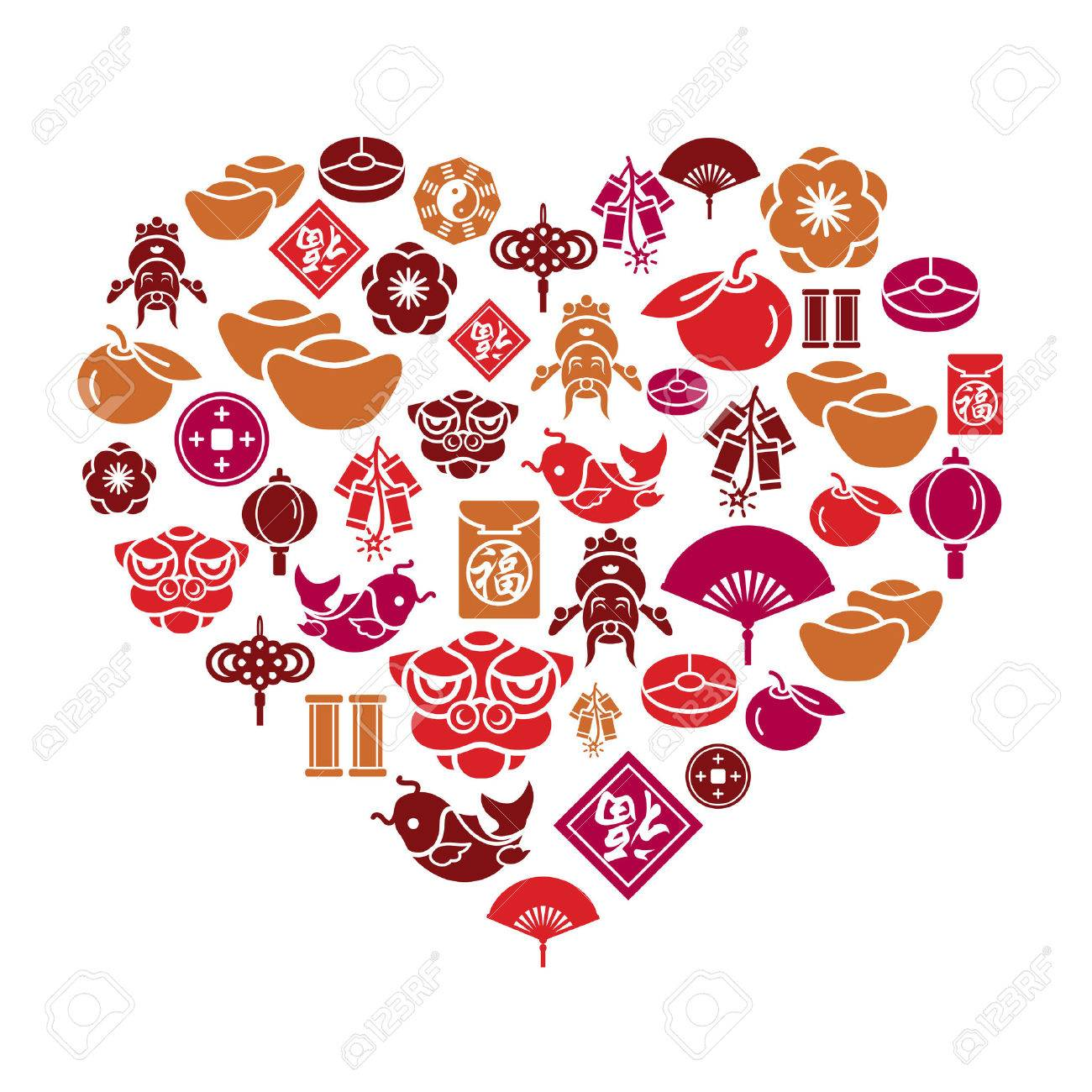 Chinese new year icons in heart shape royalty free cliparts chinese new year icons in heart shape stock vector 30441751 buycottarizona