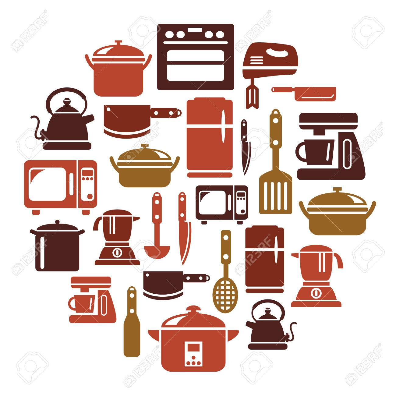 Uncategorized Kitchen Utensils And Appliances kitchen utensils and appliances icons in circle shape royalty free stock vector 30486432