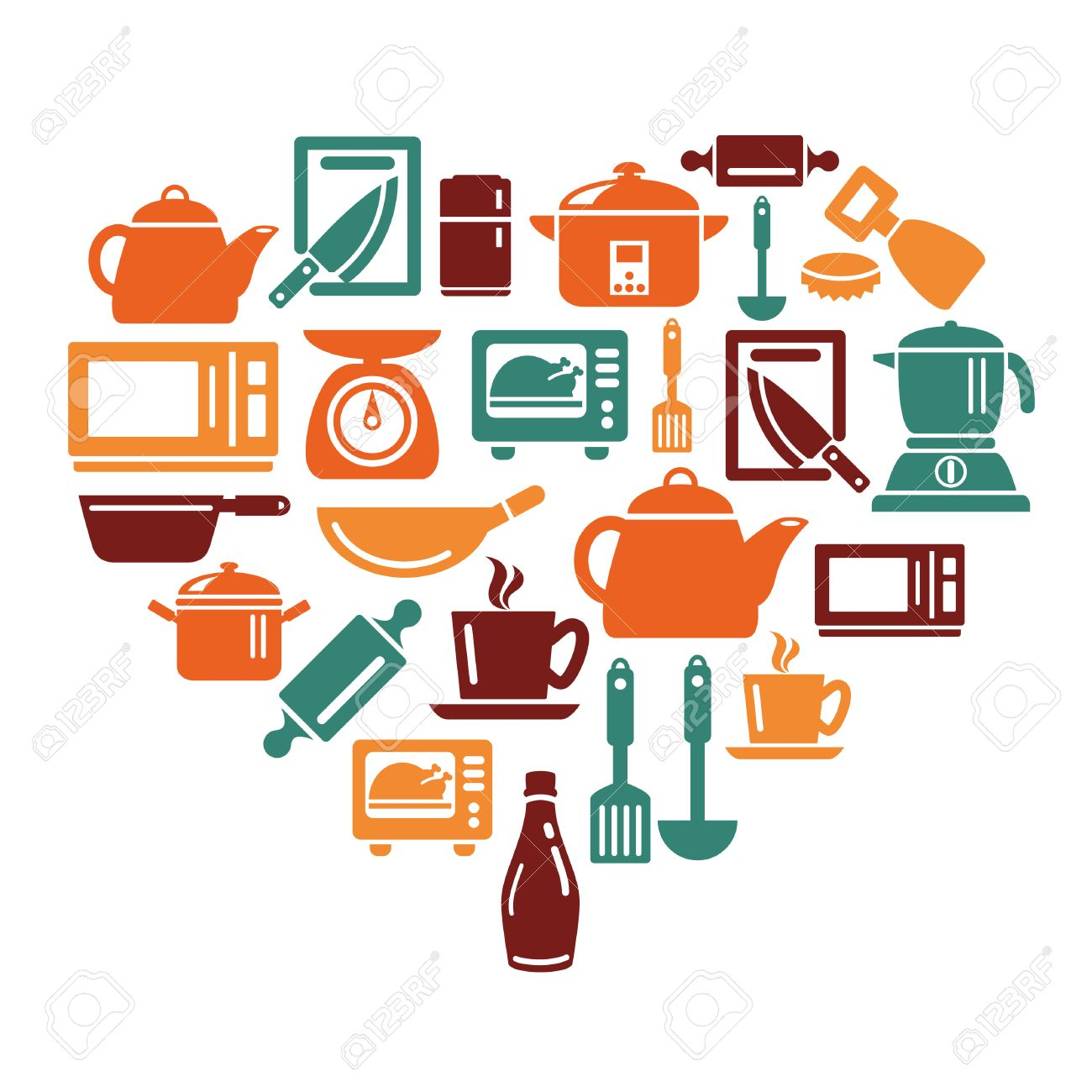 Uncategorized Kitchen Utensils And Appliances kitchen utensils and appliances icons in heart shape royalty free stock vector 30486456