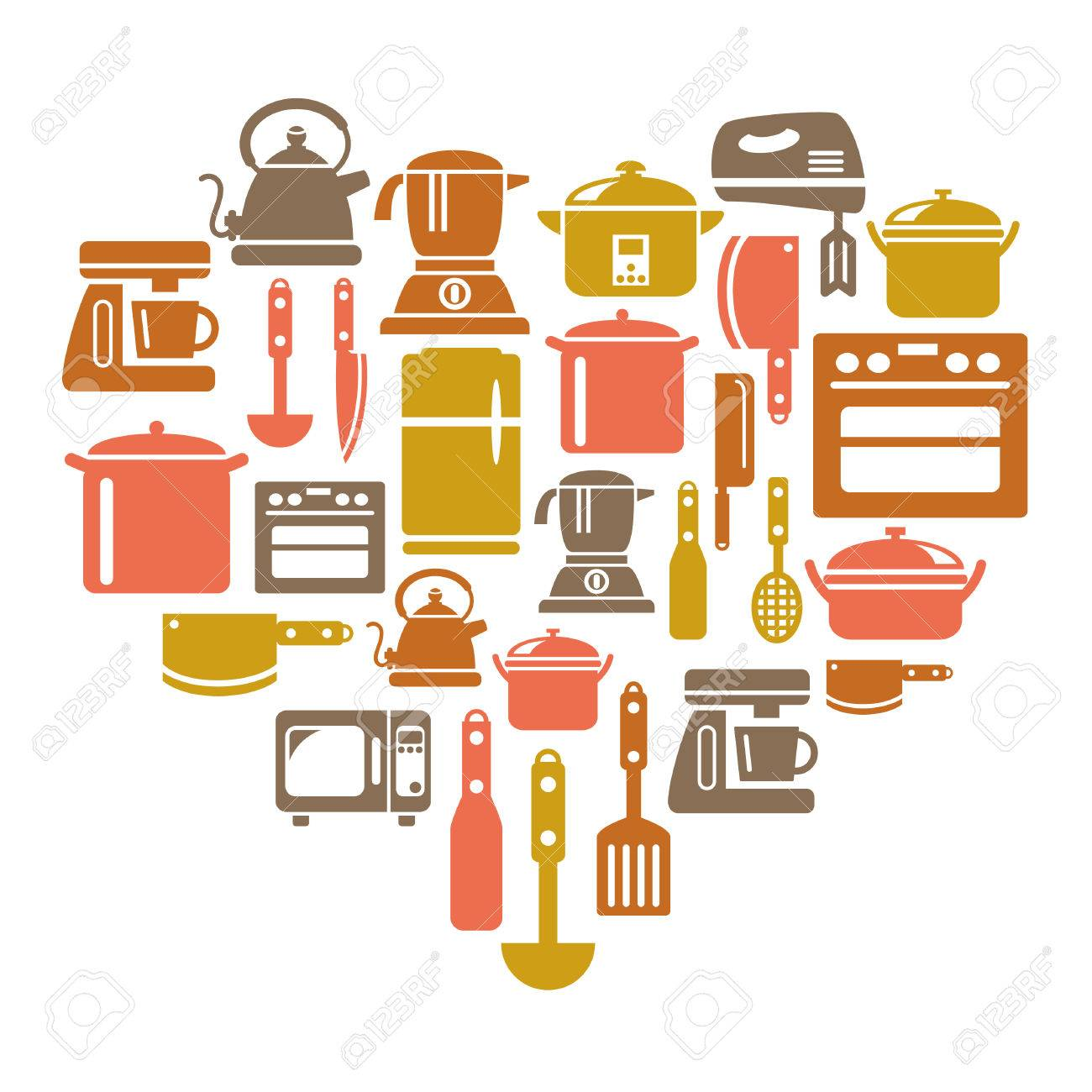 Uncategorized Kitchen Utensils And Appliances kitchen utensils and appliances icons in heart shape royalty free stock vector 30486480