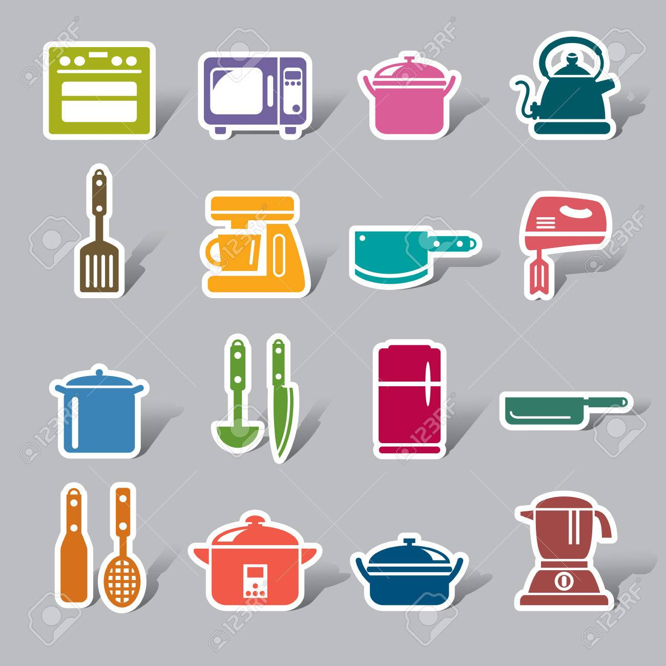 Kitchen Utensils And Appliances Color Icon Label Royalty Free ...