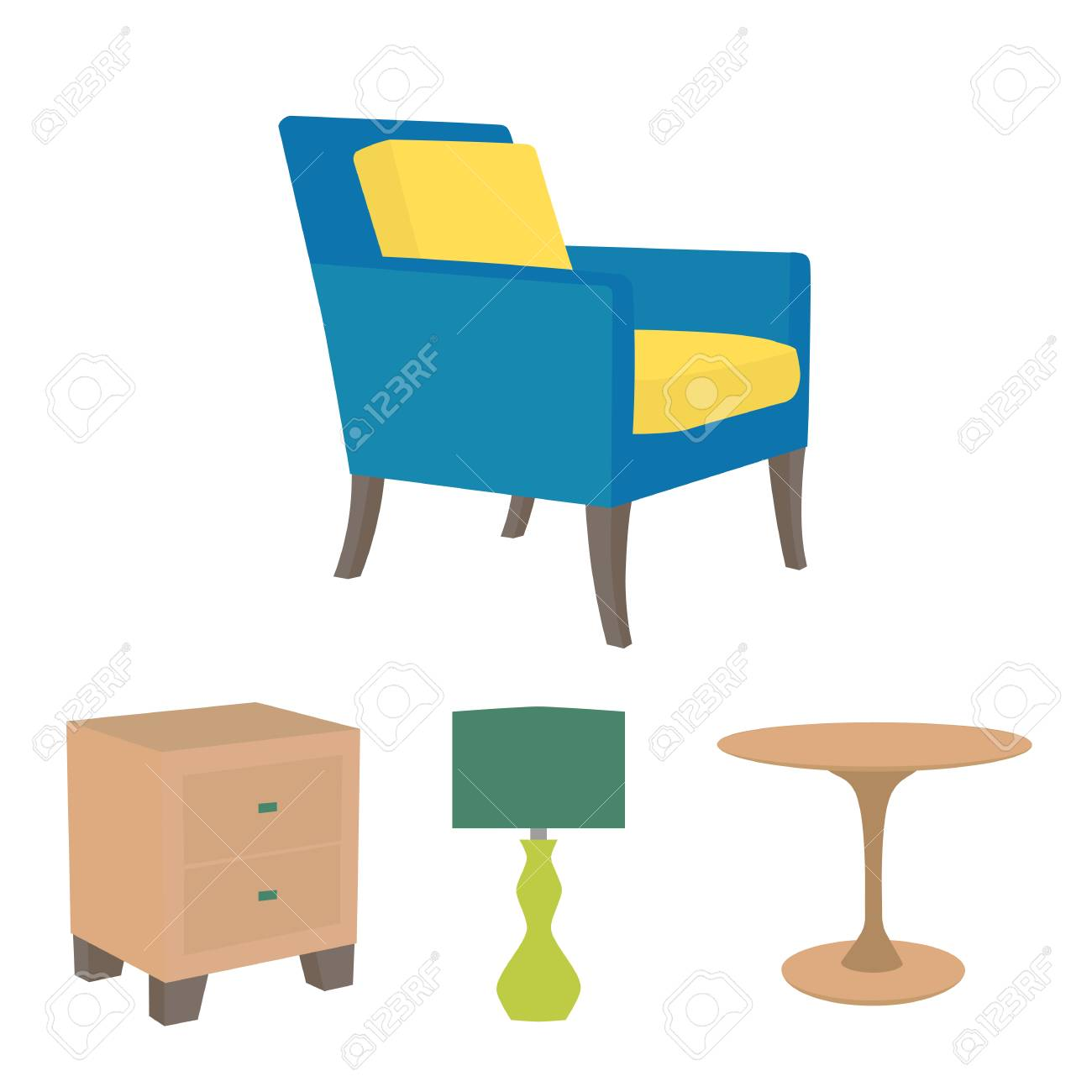 Vector Illustration Of Living Room Furniture In Mid Century Modern ...