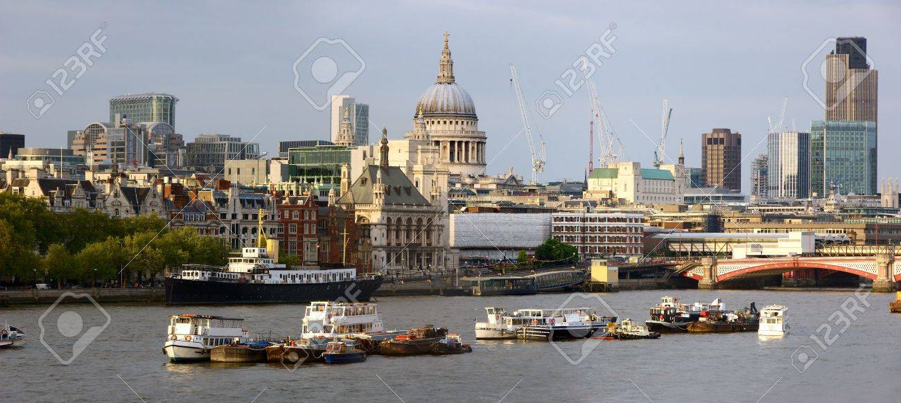 View over the River Thames, London, England, UK to St Paul's Cathedral in early evening light Stock Photo - 4866697