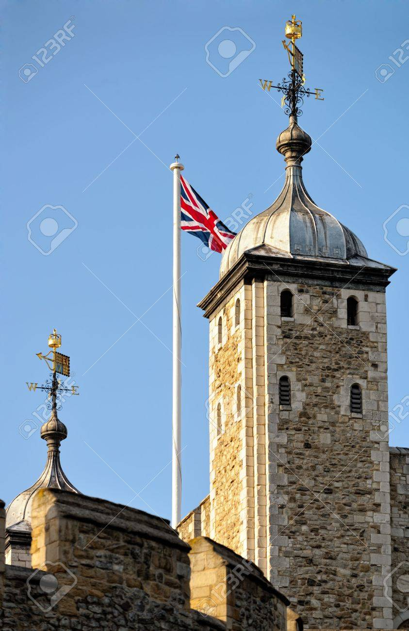 Her Majesty's Royal Palace and Fortress, more commonly known as the Tower of London (and historically as The Tower), a historic monument in central London, England, on the north bank of the River Thames. Taken at the end of the day. Stock Photo - 5244166