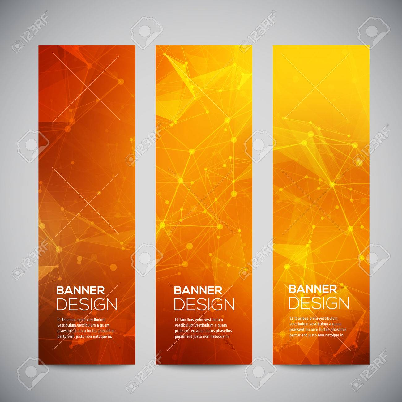 Vector vertical banners set with polygonal abstract shapes, with circles, lines, triangles. - 41161542