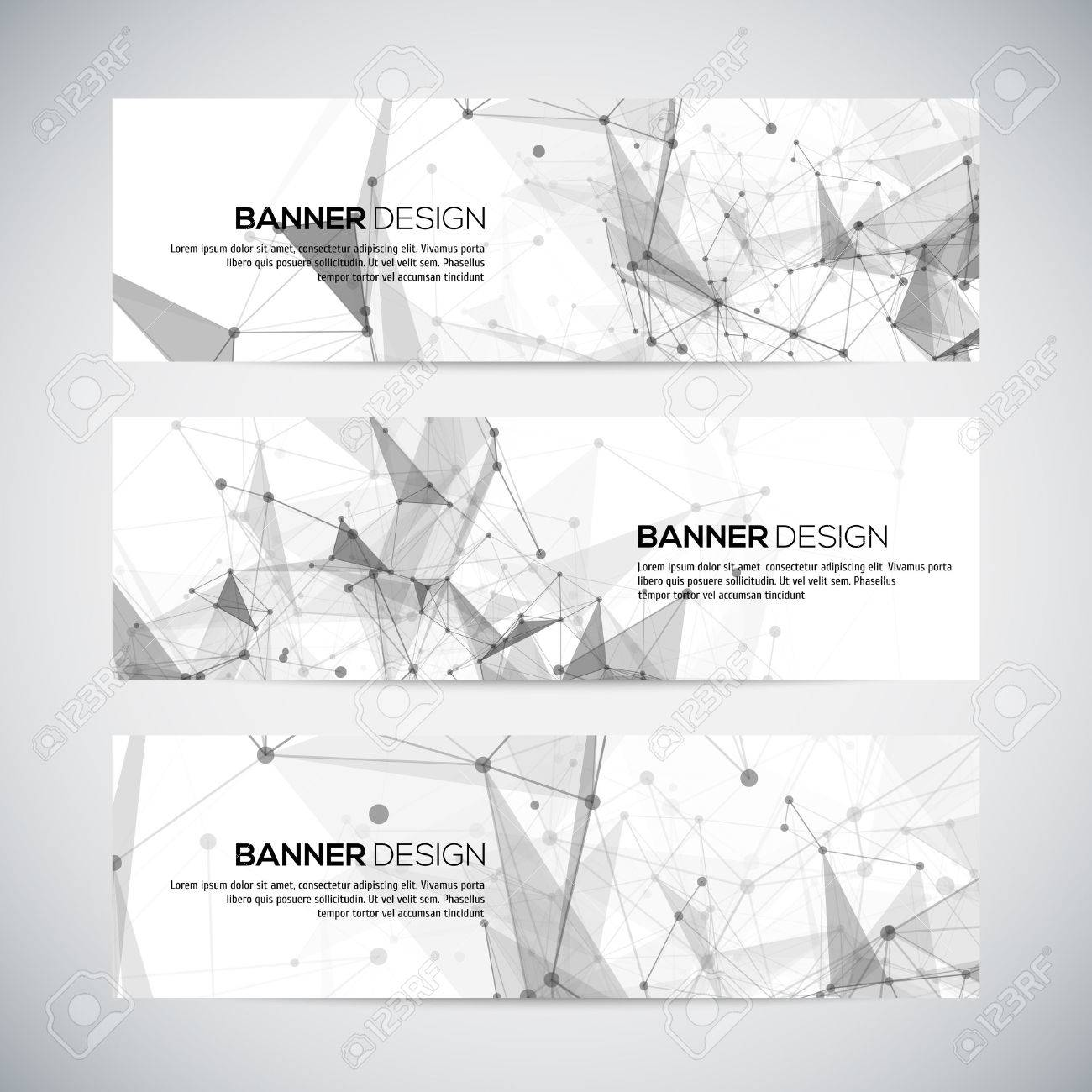 Vector banners set with polygonal abstract shapes, with circles, lines, triangles. Vector Stock Vector - 43852059