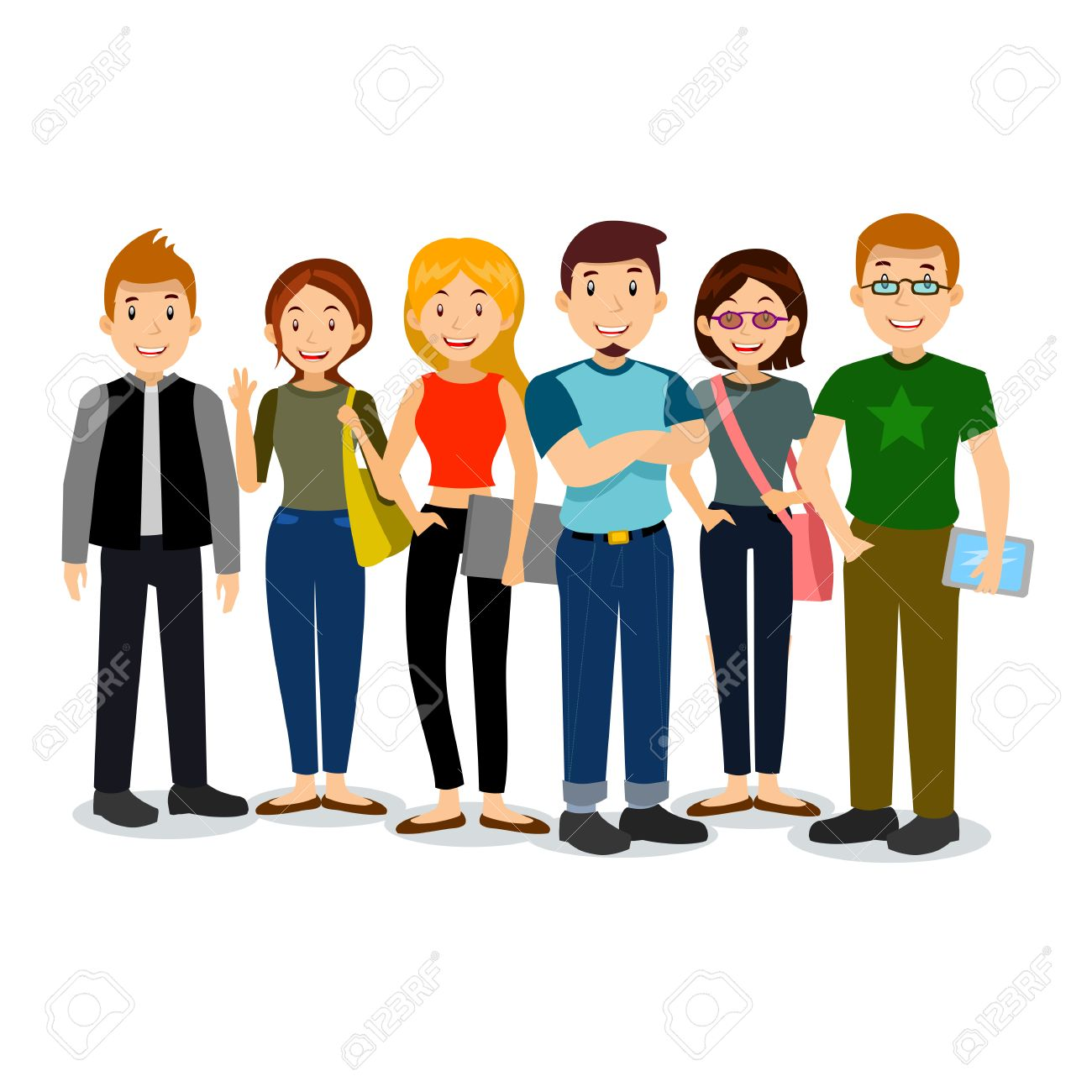 Set of diverse college or university students. Vector group of students. Cartoon vector illustration of students. - 52243806