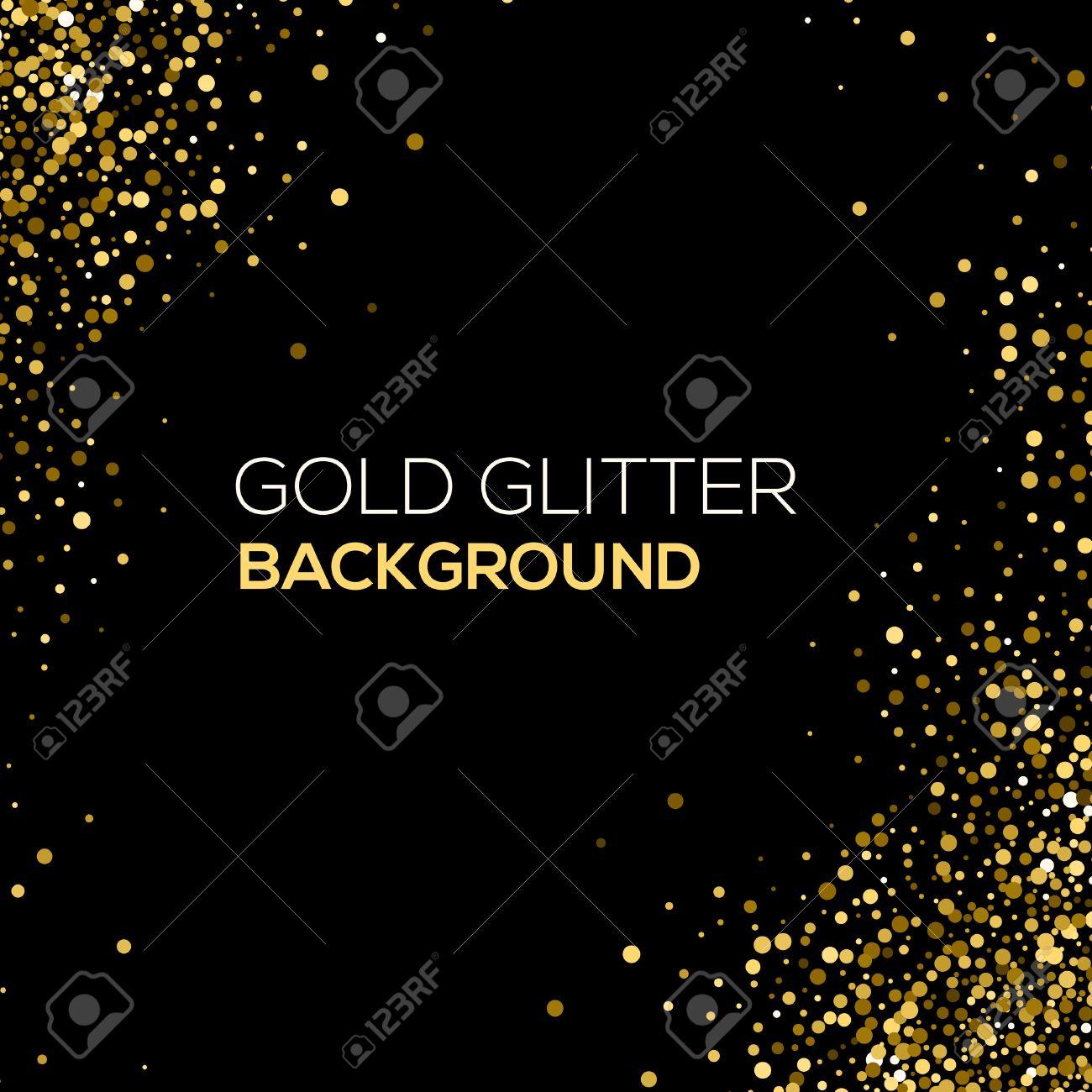 Gold confetti glitter on black background. Abstract gold dust glitter background. Golden explosion of confetti. Golden grainy abstract background - 54404819