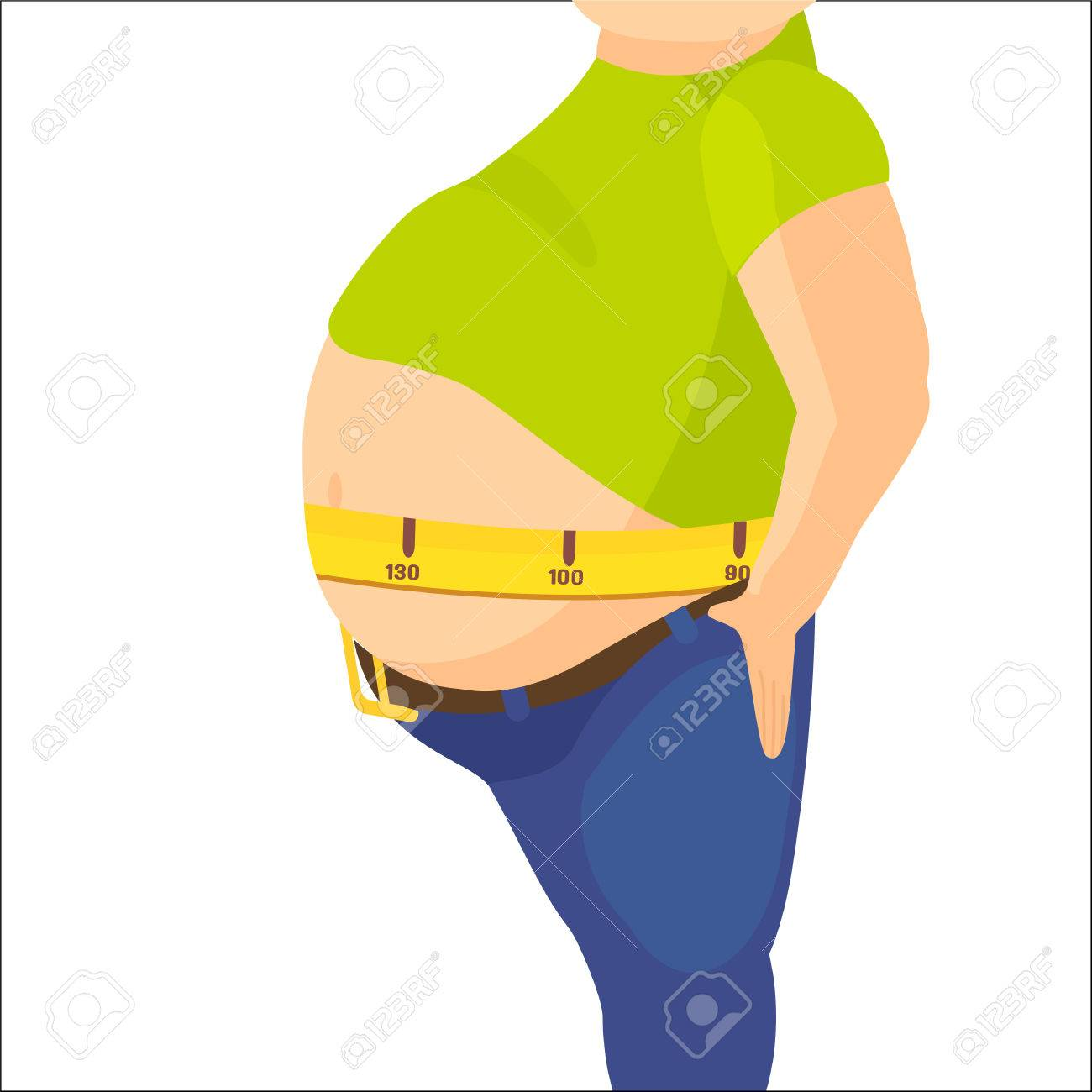 Abdomen fat, overweight man with a big belly and measure tape around waist against. - 60160455