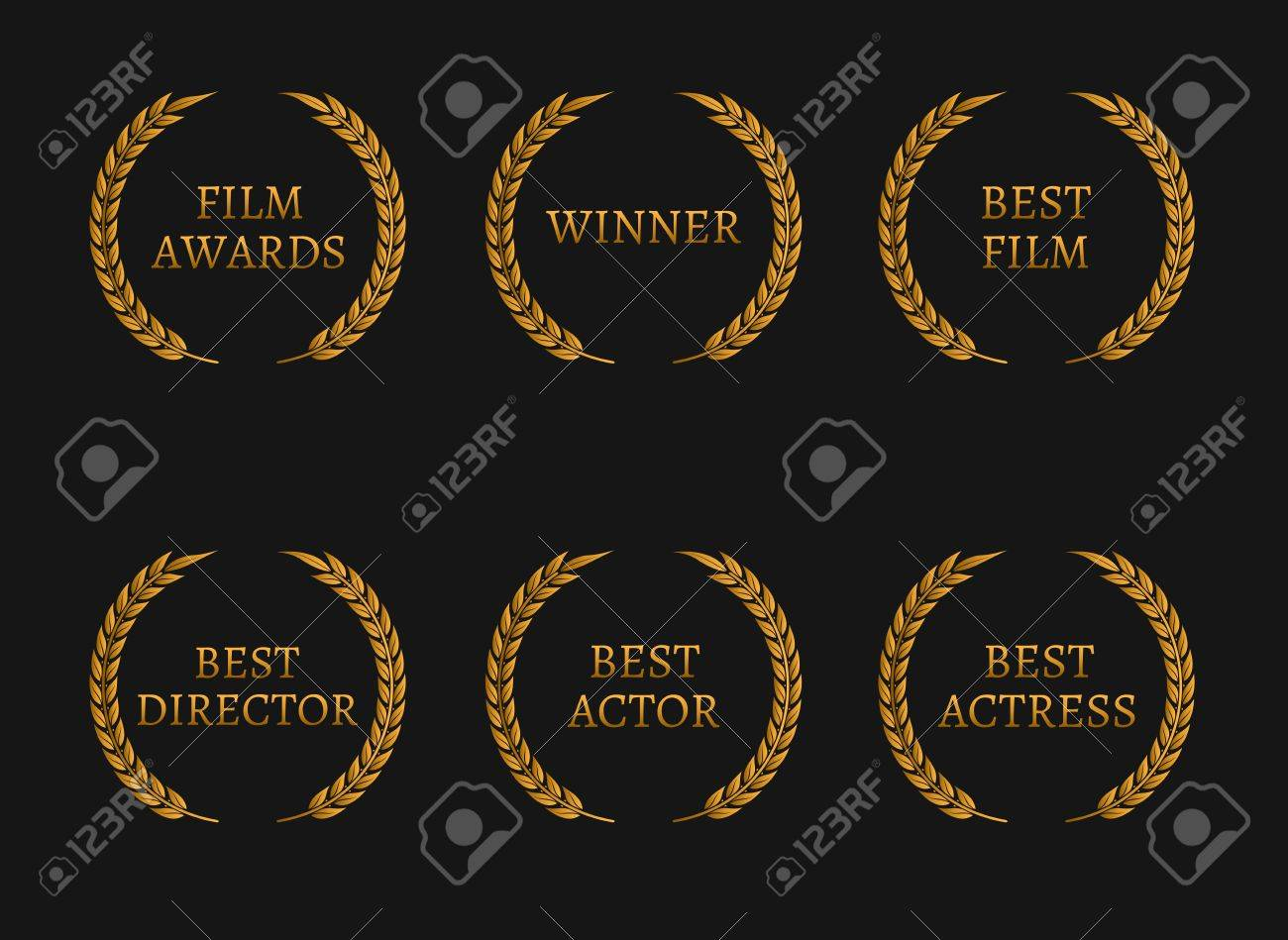 Film Academy Awards Winners And Best Nominee Gold Wreaths On