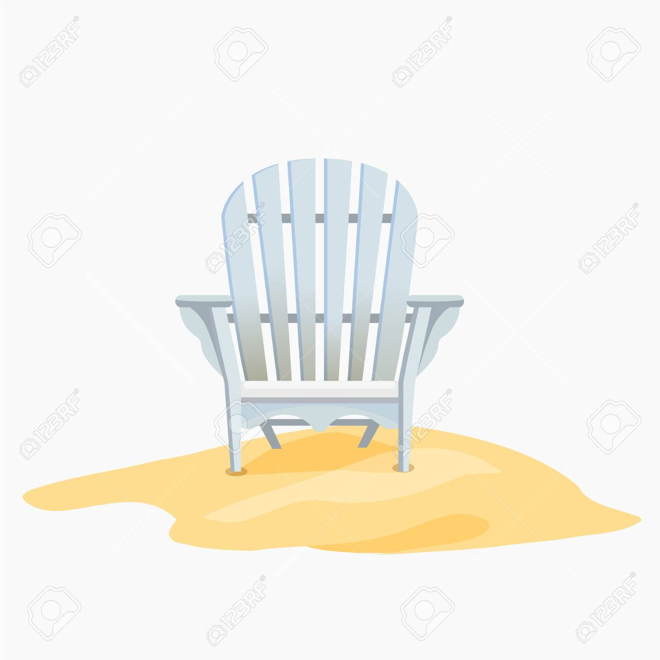Adirondack chair standing on the yellow sand, Vector flat illustration