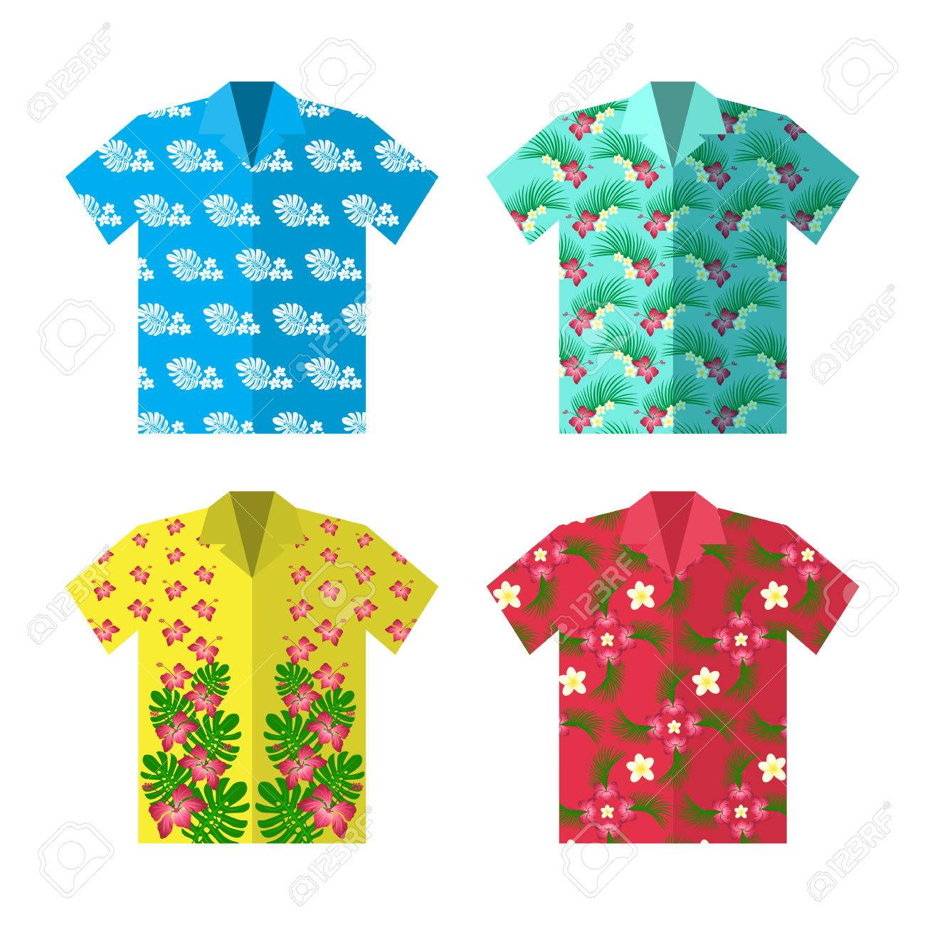 Aloha Hawaiian Shirt For Happy Carefree Vacation Colorful Vector Flat Illustration Stock