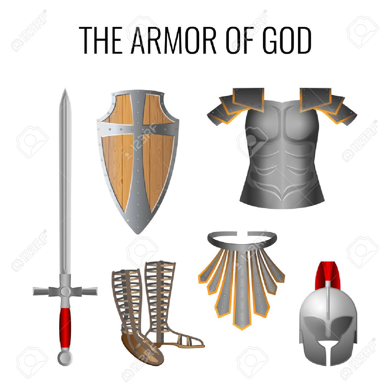 set of armor of god elements isolated on white long sword of