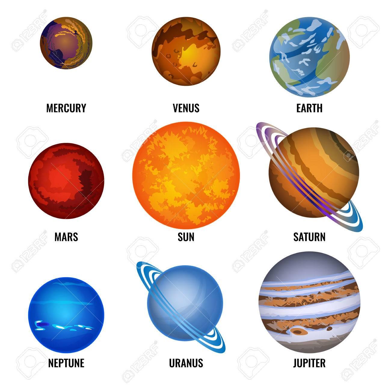 Conjunto De Planetas Del Sistema Solar Ilustración Vectorial De Dibujos Animados Mercurio Más Pequeño Venus Giratorio Tierra Habitada Marte Y Sol