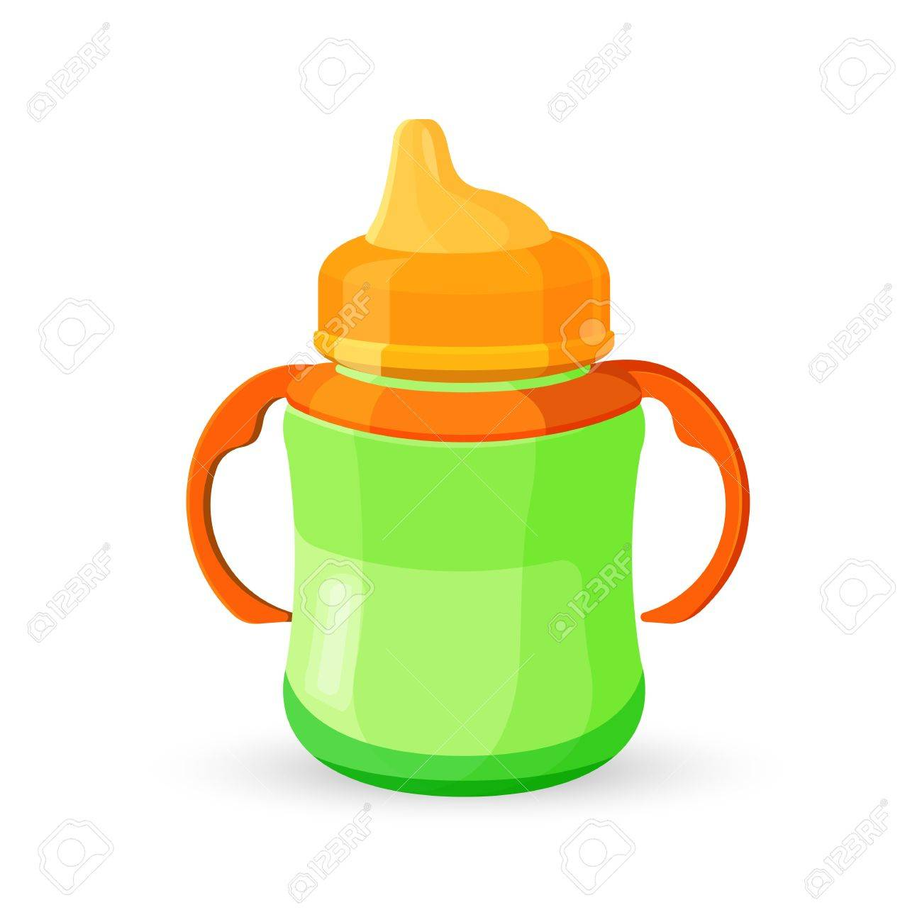 Baby Cup Bottle Green Orange Translucent Drinking Bowl With Milk ...