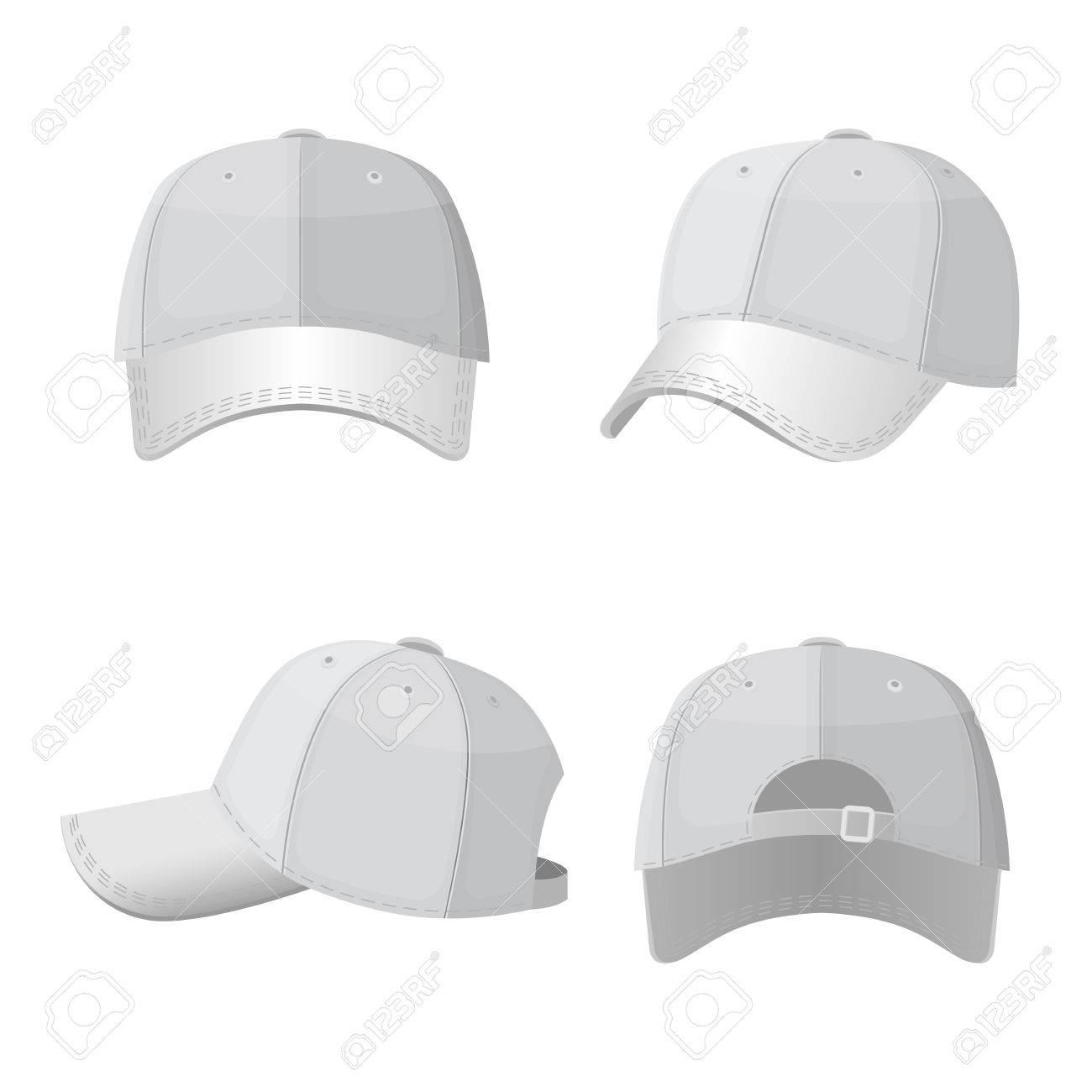 Foto de archivo - Gorras blancas de béisbol en el lado frontal y vista  posterior aislado f937d379765